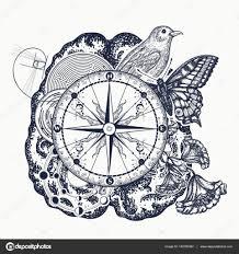 левый и правый мозг тату искусства символ мышления воображения