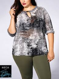Tess Holliday Size Chart Tess Holliday Long Sleeve Printed Blouse With Keyhole