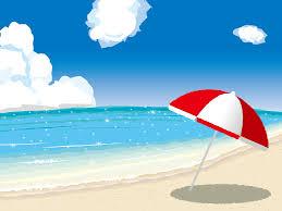 フリーイラスト ビーチパラソルと夏の海の風景でアハ体験 Gahag
