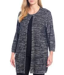 Kasper Plus Size Marled Sequin Hook Front Jacket
