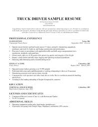 Cdl Driver Resume Samples Sample Resume For A Truck Driver Cdl Class