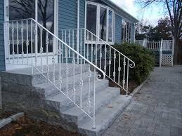 Stairs, Astounding Exterior Wrought Iron Railings Wrought Iron Hand Railing  White Iron Railings And Plant ...