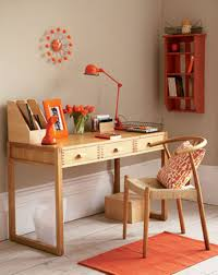 creative ideas office furniture. Teak Wooden Desk And Chic Chair For Creative Ideas Home Office With Orange Study Lamp Rug Furniture S