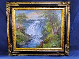 original oil on canvas of waterfall by r danford