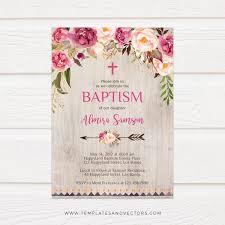 Baptism Invitations Templates Beautiful Pink Floral Baptism Invitation Tvc120