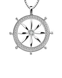 designer mens pendants sterling silver ship wheel s men s pendant with diamond sparkling voylla