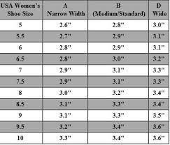 Womens Shoe Size Chart Shoe Width Chart Usa Womens Shoe