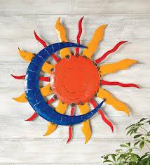handcrafted sun and moon metal wall art on sun moon garden wall art with handcrafted sun and moon metal wall art metal garden wall art