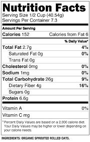 oats nutrition facts organic sprouted rolled oats