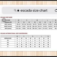 Abiding Escada Clothing Size Chart 2019