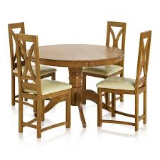 pedestal rust solid oak dining set 4ft round table with 4 loop back and cream