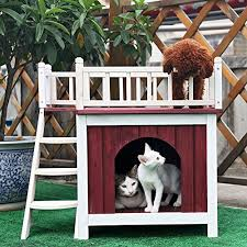 Petsfit-29X22X27-Cat-House-with-RooftopDog-HouseWooden-Indoor-