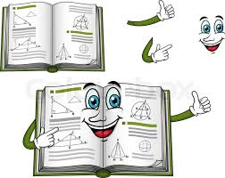 happy geometry textbook cartoon character with green cover shows thumb up for education design vector