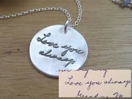 custom made handwriting necklace in recycled silver