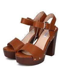 new women kayleen queen 9 pu open toe faux wooden platform chunky