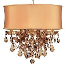 crystorama bwood 6 light golden teak crystal brass drum shade mini chandelier