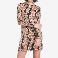 Julie Brown Snake Pattern Dress In Black Gold Nwt