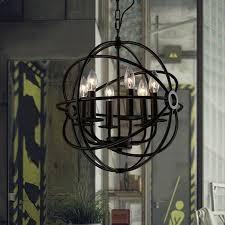metal orb chandelier industrial retro