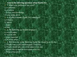 earth day 7  answer the following questions about earth day