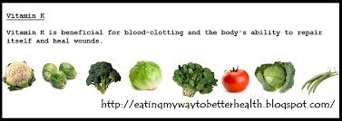 Eating My Way To Better Health Vitamin K Food Chart