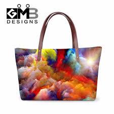 Womens Designer Bags Us 25 99 43 Off Womens Designer Handbags Colorful Satchel Shoulder Bag For Girls Watercolor Handbag Storage For Ladies Lightweight Shoulder Bag In