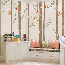 big birch tree wall decals cute owls