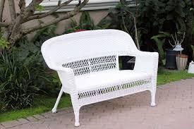 white wicker patio love seat jeco