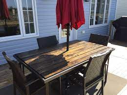 new wooden top for the patio table to
