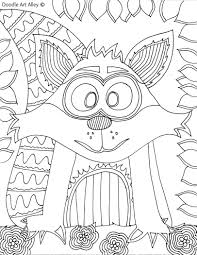 Forest Animal Coloring Pages Doodle Art