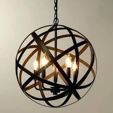 metal orb chandelier wood