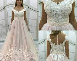 blush wedding dress etsy