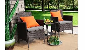 home patio dining sets baner garden 3 pieces outdoor furniture complete patio cushion pe wicker rattan garden dining set full chocolate q16