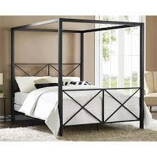 Modern Romance Metal Queen Canopy Bed in Black
