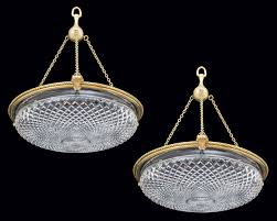 a pair of cut glass dish lights by f c osler