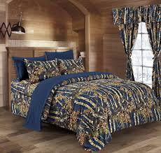 the woods navy blue camouflage twin 5pc premium luxury comforter sheet pillowcases and bed skirt set by regal comfort camo bedding set for hunters cabin