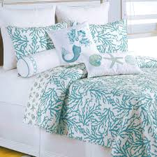 Cora Turquoise Coral Coastal Quilt Bedding & Click to expand Adamdwight.com