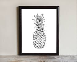 pineapple drawing. pineapple drawing instant download printable art, drawing, wall ink sketch, 8x10, 5x7 4x6