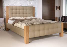 Low Profile Dark Brown Wooden Bed Frame With High Head Board Also Velvet.  interior homes ...