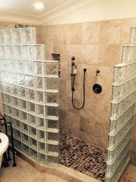 doorless glass block shower in martinez california with a curved wall