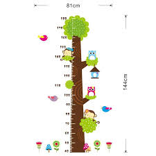 Birds Chart For Kindergarten Us 7 18 15 Off Owl Monkey Butterfly Flower Tree Growth Chart Wall Art Home Decorations Animals Stickers Cartoon Childrens Decals Cd003 4 0 In Wall