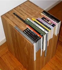 creative end table with books embedded