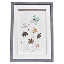 genuine sea glass erflies and pebble flowers pebble art home décor seaglass art new