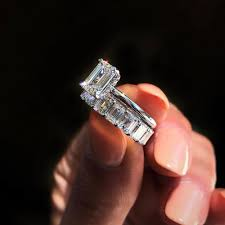 Carat Size Chart Emerald Cut Louilyjewelry Sterling Silver 5 0 Carat Emerald Cut Wedding Ring Set