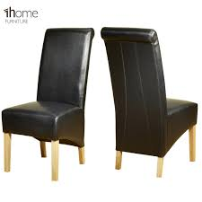 1home leather dining chairs scroll high top back oak legs furniture 1 pair black co uk kitchen home