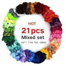 <b>21Pcs</b>/<b>set</b> Fashion Women Scrunchies Simple Elastic Headbands ...