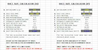 Inches Of Water To Cfm Chart Hvac Duct Size Calculator Excel Free Ductulator In 2019