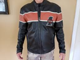 genuine harley davidson victory lane leather motorcycle racing jacket men s l 1 of 4only 1 available