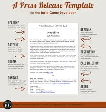 Press Release Templet A Press Release Template Perfect For The Indie Game Developer