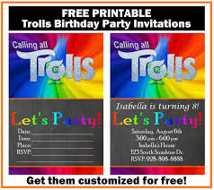 Online Printable Birthday Party Invitations Free Printable Birthday Flyers Trolls Party Invitation