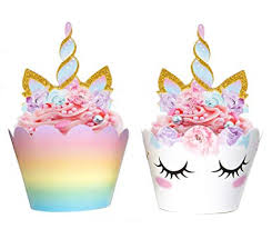Amazoncom Unicorn Cupcake Decorations Double Sided Toppers And